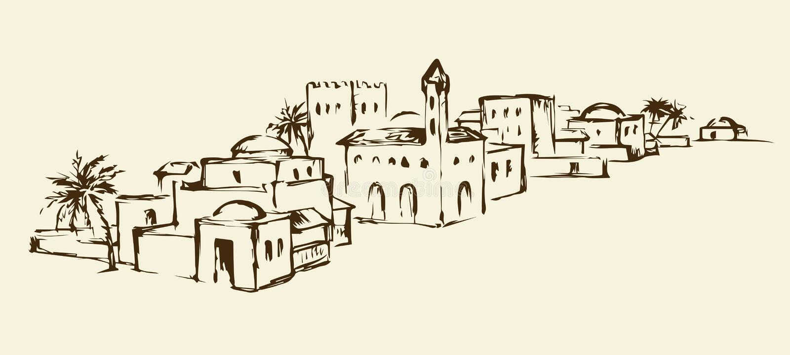 Old eastern city. Vector drawing. Arhaic eastern persian orient desert sand palm oasis view with stone fort wall and mosque. Outline ink hand drawn picture vector illustration