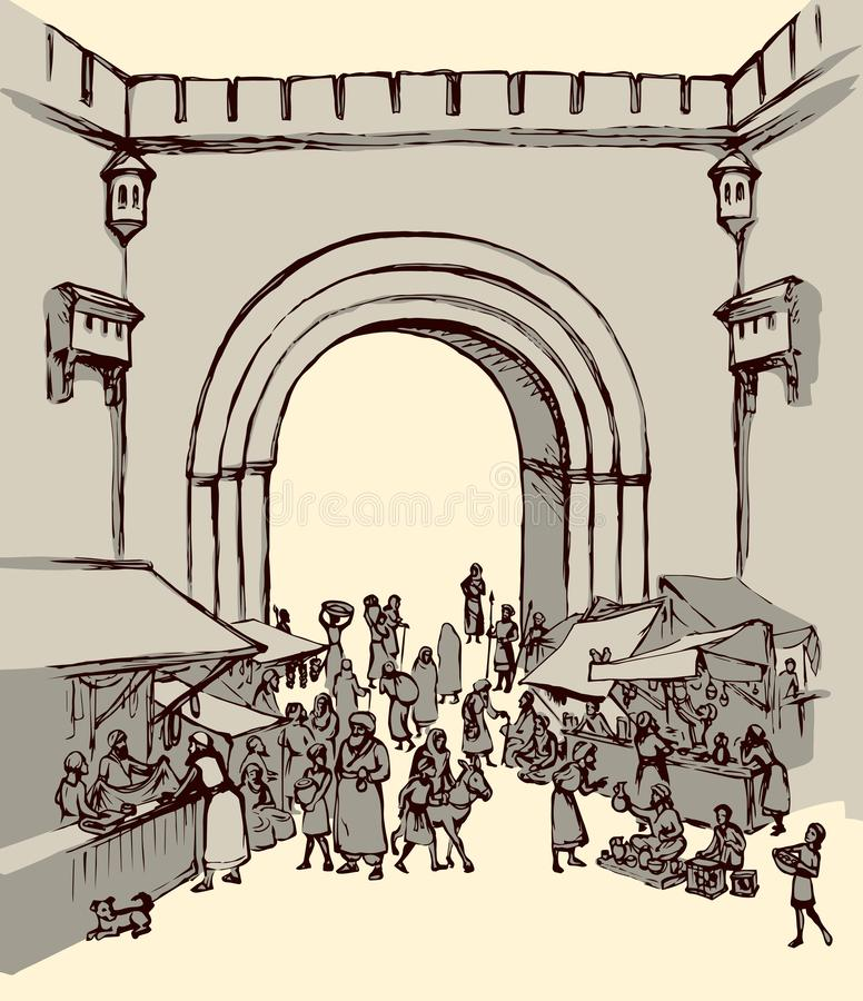 Old eastern city. Vector drawing. Orient biblical religion heritage vendors women scene view. Antique fes arch gate fortress building on white background. Black royalty free illustration