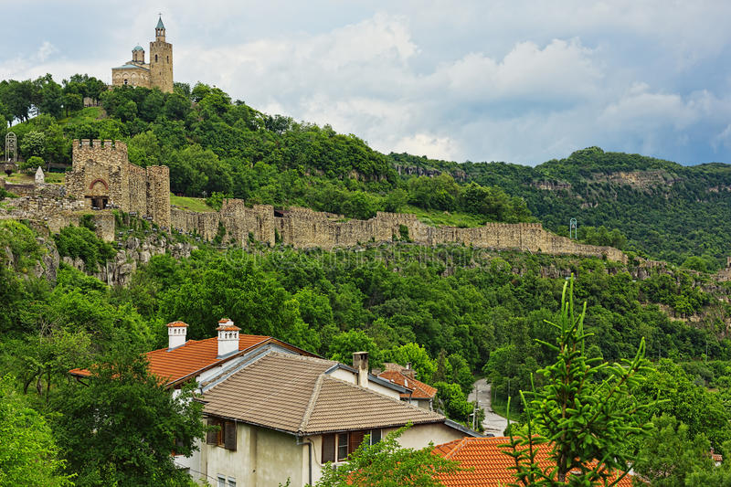 Old eastern european fortress of Veliko Tarnovo, Bulgaria. Landscape of an old eastern european fortress with an orthodox church royalty free stock photography