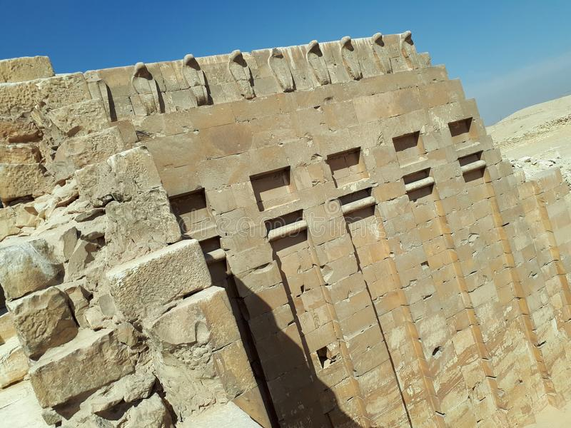 Old egyptian features. Egyptian architecture in giza stock images