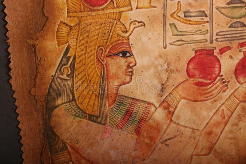 Old Egyptian Kings and Queen Papyrus. stock images
