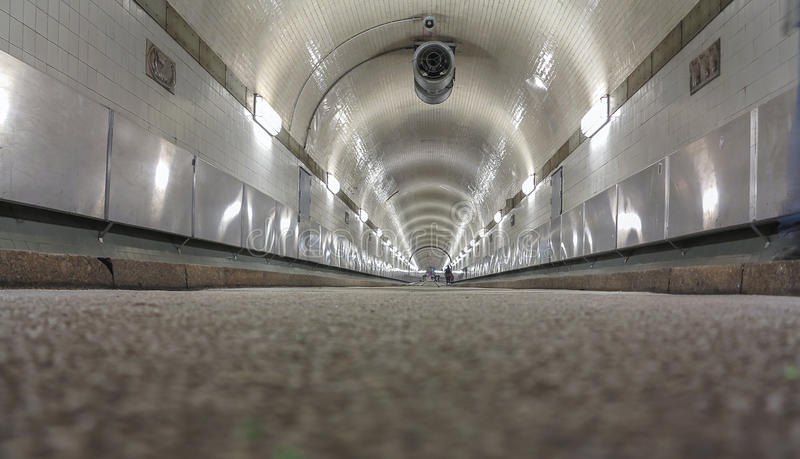 Old Elbe tunnel. Low angle view of the old Elbe tunnel in Hamburg stock photo