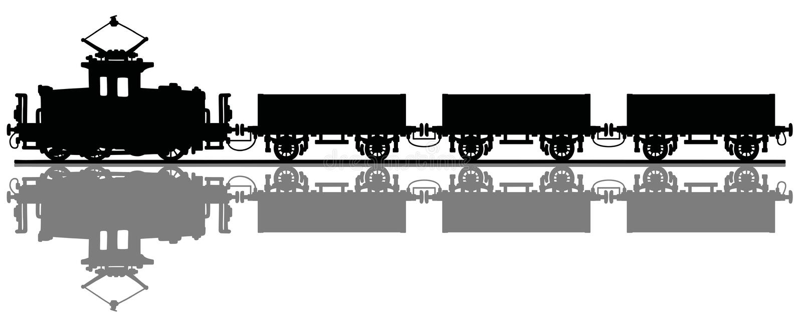 Old electric cargo train vector illustration