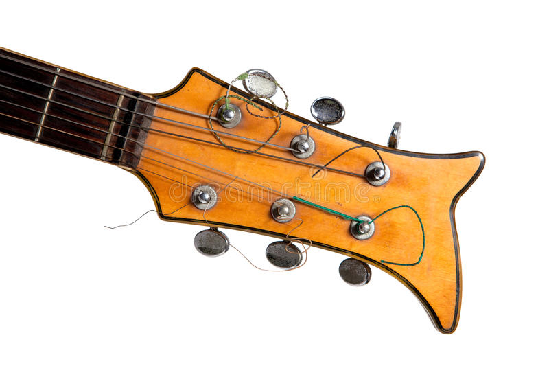 Old electric guitar. Neck close up royalty free stock images