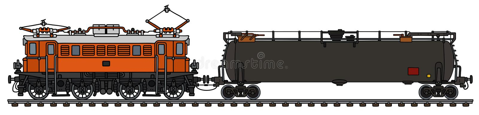 Old electric locomotive and tank wagon royalty free illustration