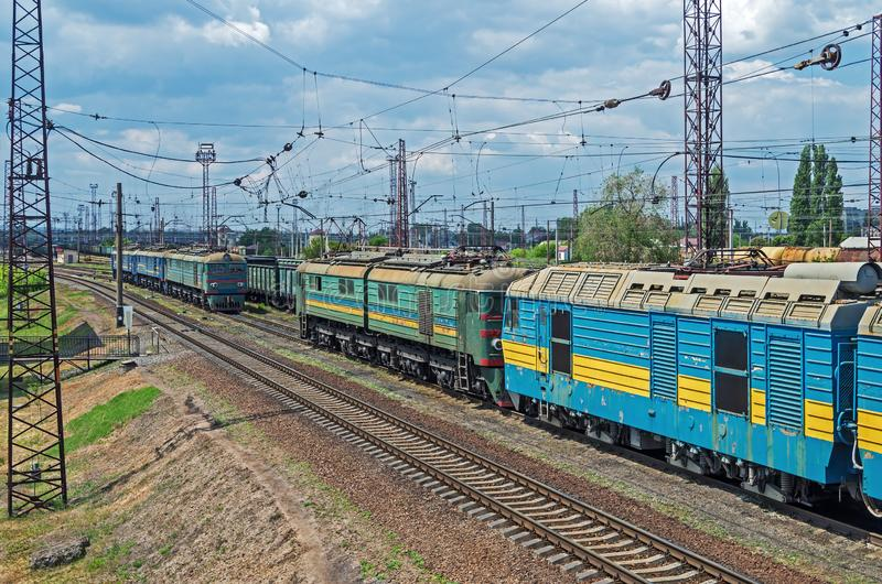 Old electric locomotives stock photo