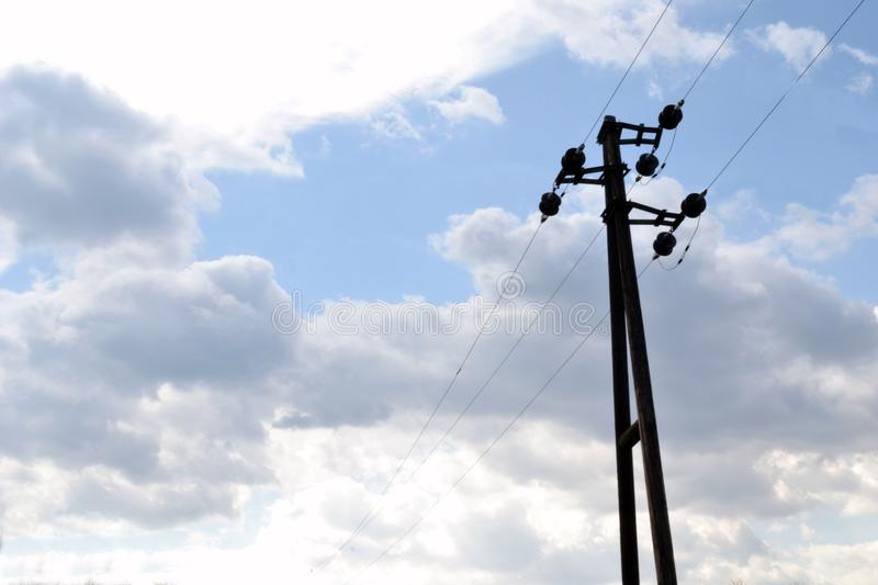 Old electric pole stock images