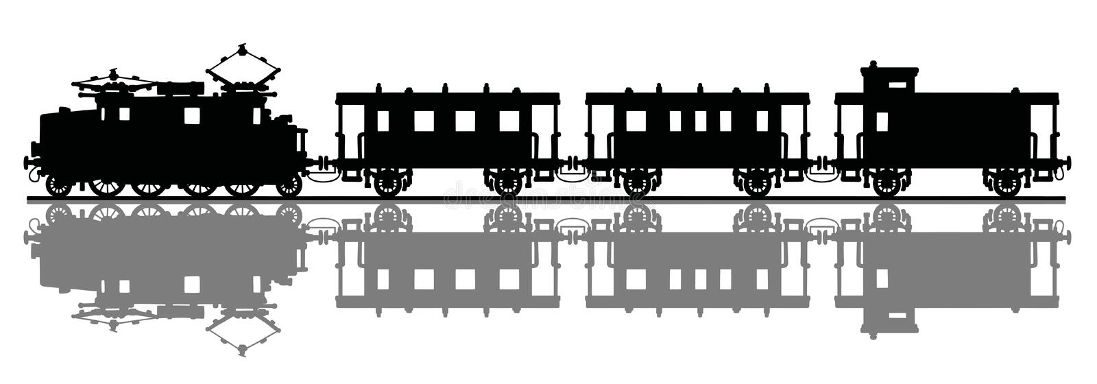 Old electric train stock illustration