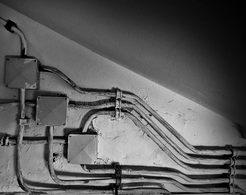 Old electrical installations royalty free stock photography