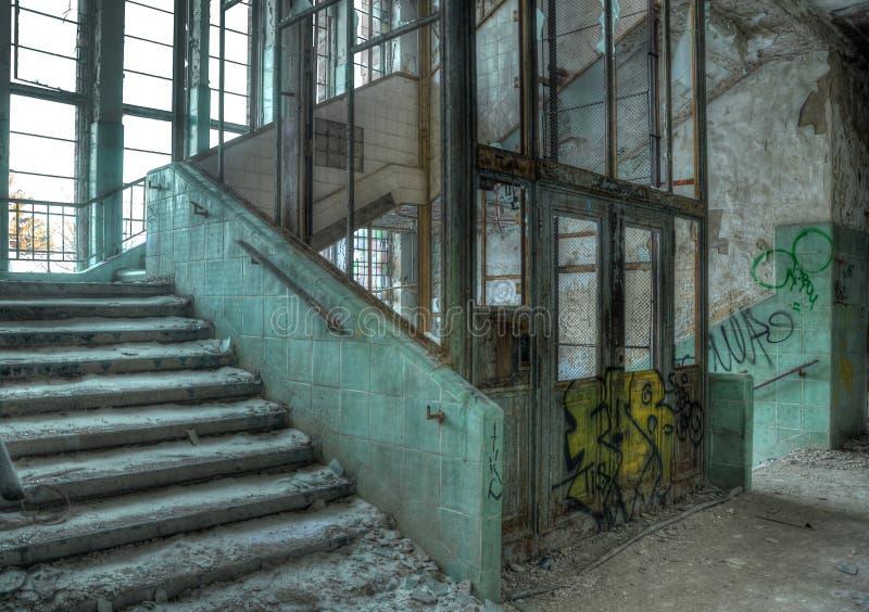 Old elevator in an abandoned hospital in Beelitz stock photos