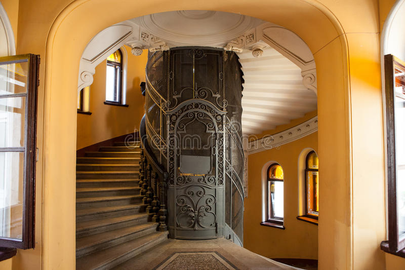 The old Elevator in the entrance of a house stock images