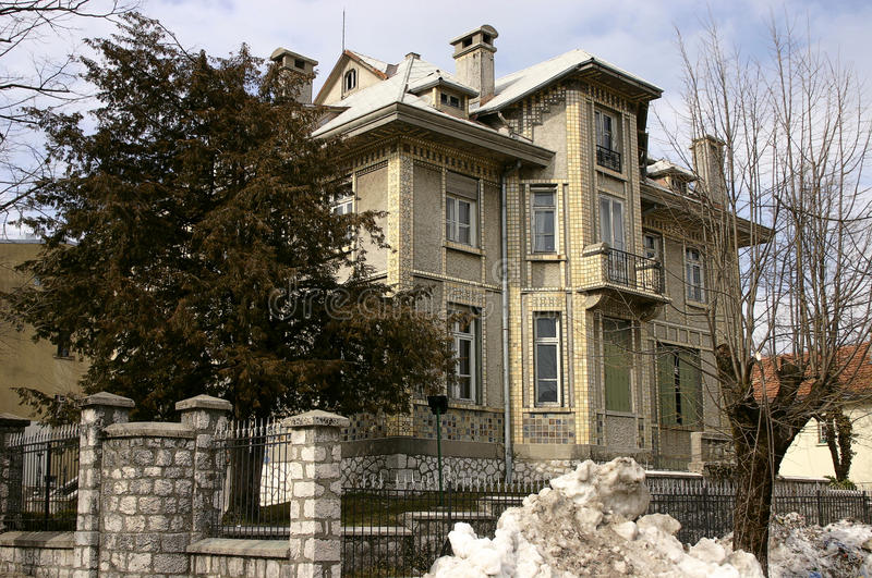 Old embassy in Cetinje. Old house embassy in the previous capital of Montenegro royalty free stock photos