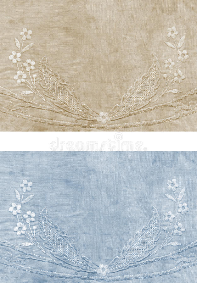 Old embroidered fabric stock photography