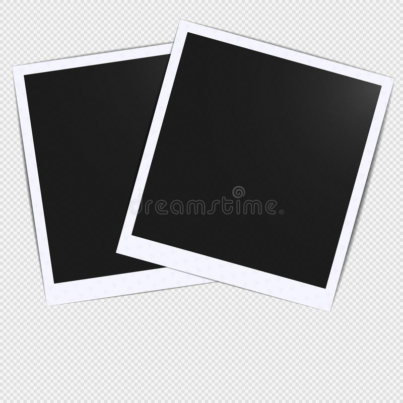 Old empty realistic photo card frame mockup design with transparent shadow on plaid black white background. Make it with gradient stock illustration
