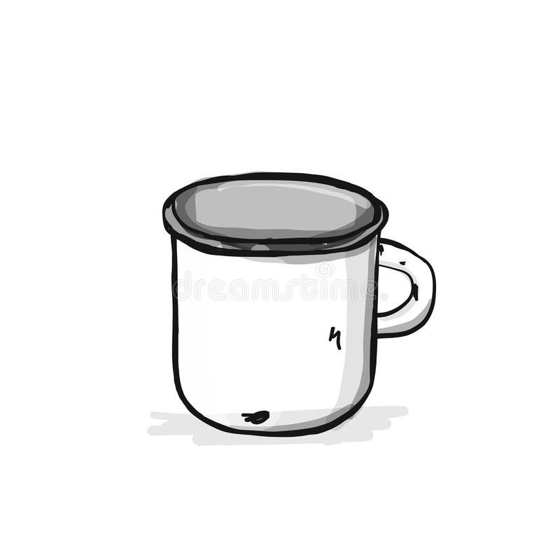 Old enameled mug, sketch for your design. Vector illustration royalty free illustration