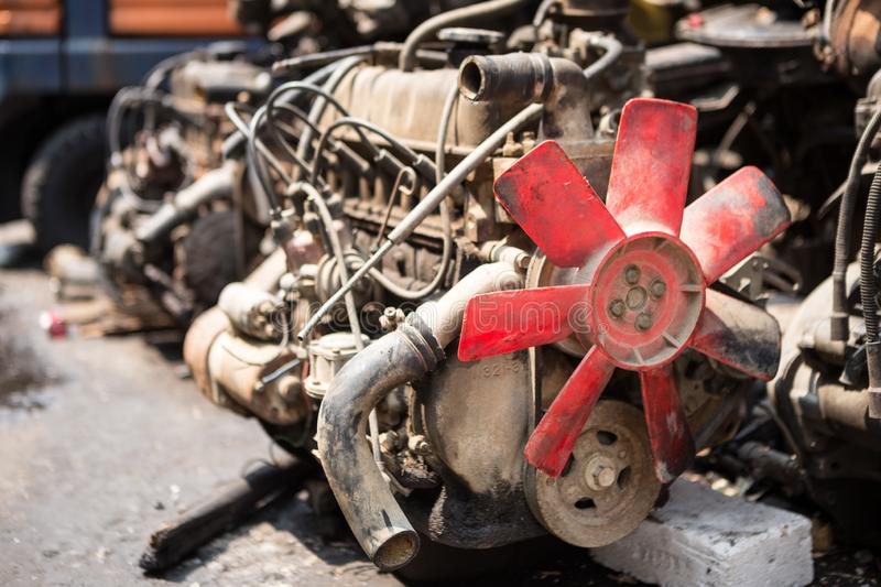 Old engines of the car. Are dirty and rusty at the junk yard stock images