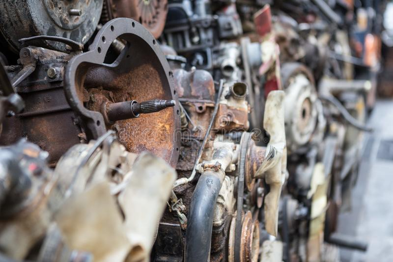 Old engines of the car. Are dirty and rusty at the junk yard royalty free stock image