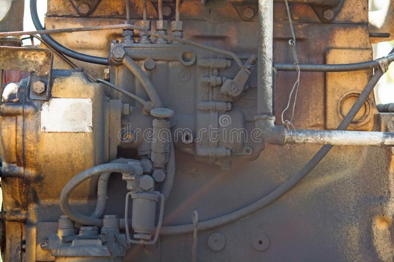 Old and rusted engines. Old engines and rust, dust and dirt Long use stock images