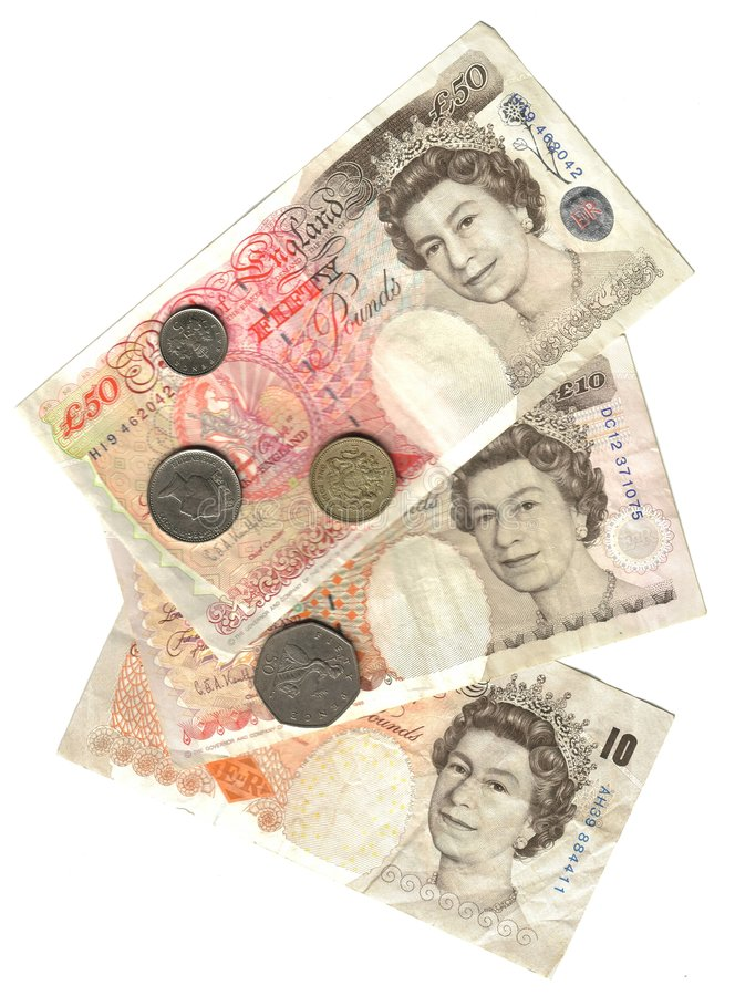 Old england: banknotes and coins stock image