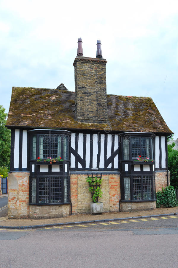 Old english cottage. With oak beams stock photos