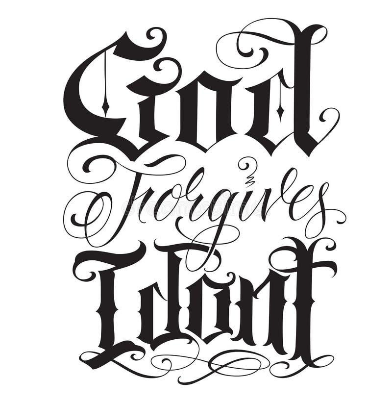 Old english fine line tattoo writing stock illustration