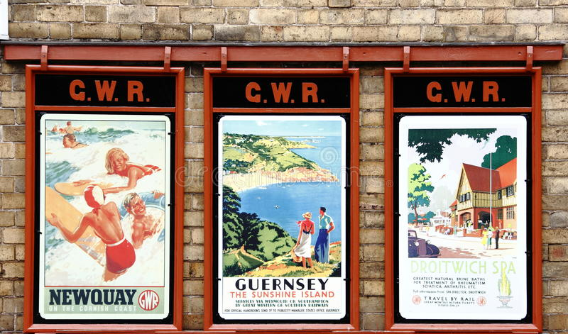 Old English holiday posters. Old vintage English holiday / vacation posters from around England 1950's royalty free stock image