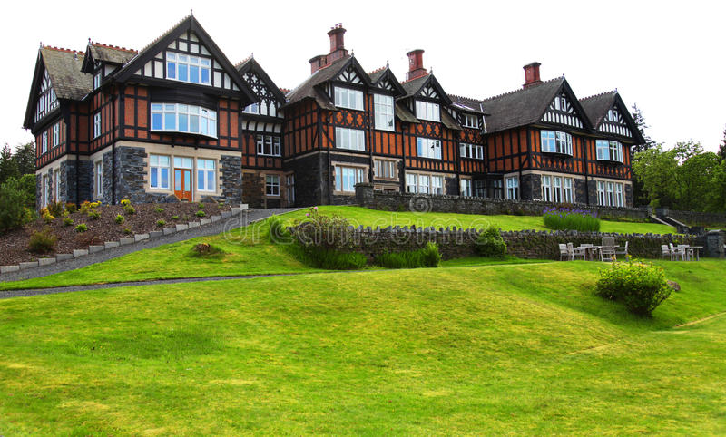 Download Old English hotel stock photo. Image of landscaped, grass - 31005806