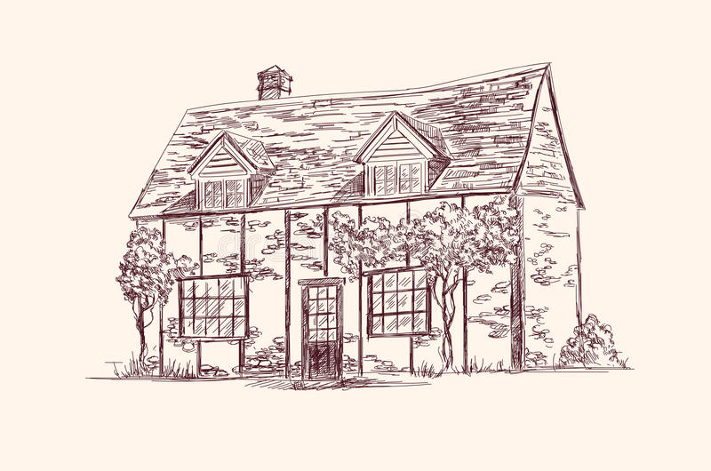 Download Old English house stock vector. Image of drawn, estate - 26216101