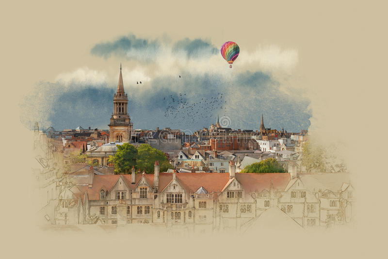 Old English landscape in Oxford. Watercolor sketch. Graphics on old paper. Oxford, UK, watercolor sketch, vintage graphics on old paper royalty free illustration