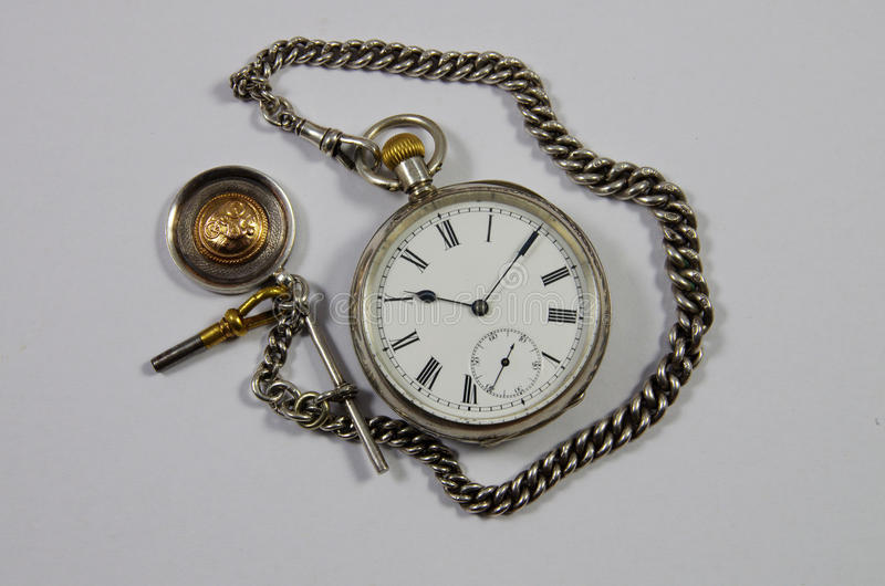 Download Old English Pocket Fob Watch And Chain Stock Image - Image of death, silver: 66207873