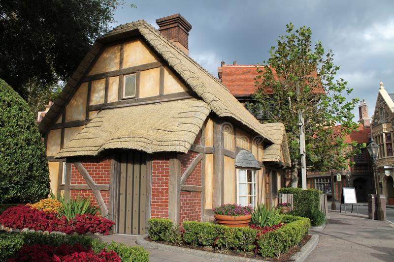 Old English town in countries pavilion at Epcot. English town. Epcot International pavilion showcase of nations, Orlando, Florida royalty free stock photos