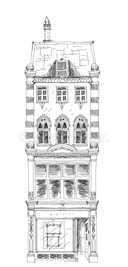 Old English town house with small shop or business on ground floor. Bond street, London. Sketch. Collection royalty free illustration