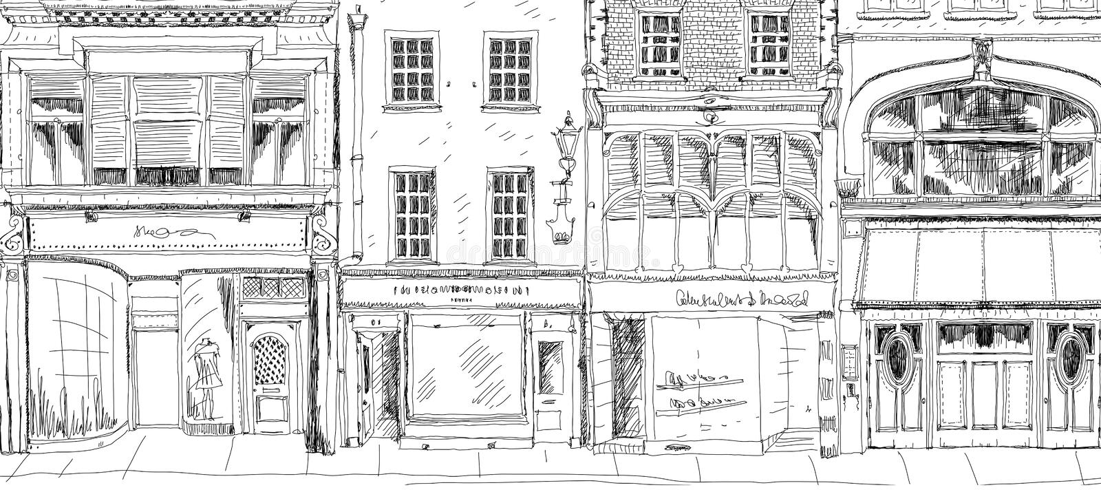 Old English town house with small shop or business on ground floor. Sketch collection vector illustration