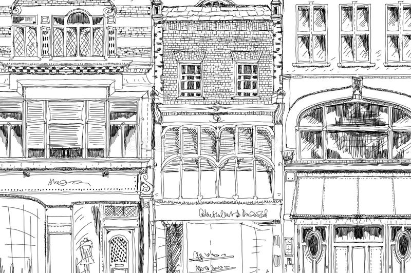 Old English town houses with small shops or business on ground floor. Bond street, London. Sketch. Collection vector illustration