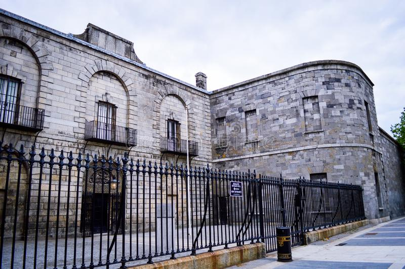 Old Entrance and Stone Wall of Kilmainham, Gaol, the Famous Historical Prison in Dublin stock images