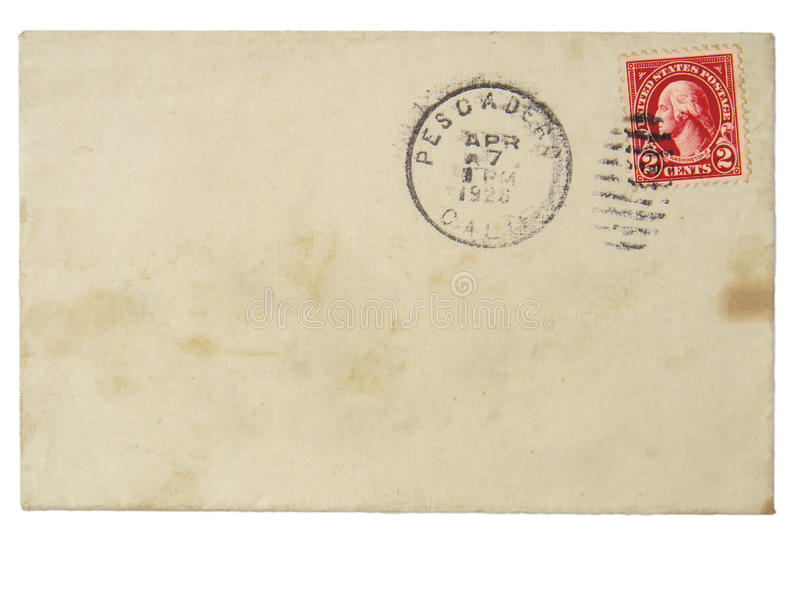 Old envelope with 1928 2 cent stamp. Antique used envelope with old 2-cent stamp on white background stock images