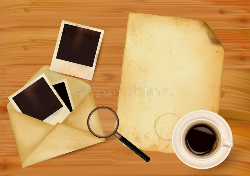 Old Envelope With Photos And Old Paper Stock Photography