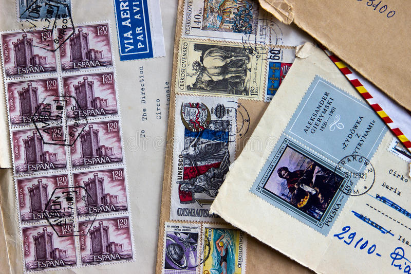 Old envelopes dispatched to Italy in the 60s. royalty free stock photo