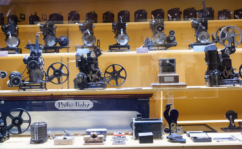 Old equipment in Museum of Cinematography stock photography