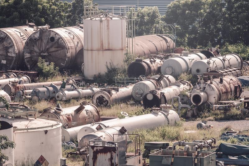 Old equipment. Of petroleum industry, Old device storage location stock photography