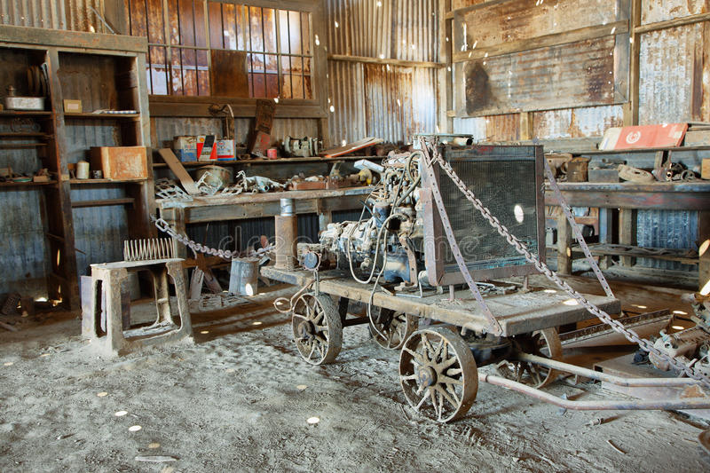 Old equipment and tools inside a building of Humberstone, Chile stock photography
