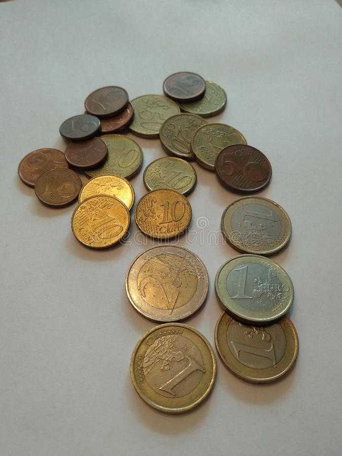 Old euro coins from different countries, euro and cents. royalty free stock photos