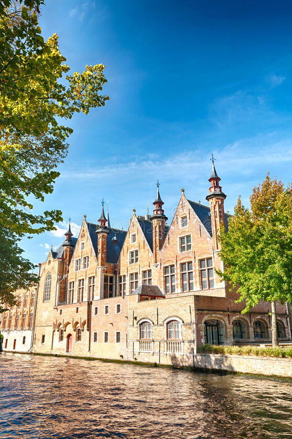 Old European buildings near a water canal royalty free stock images