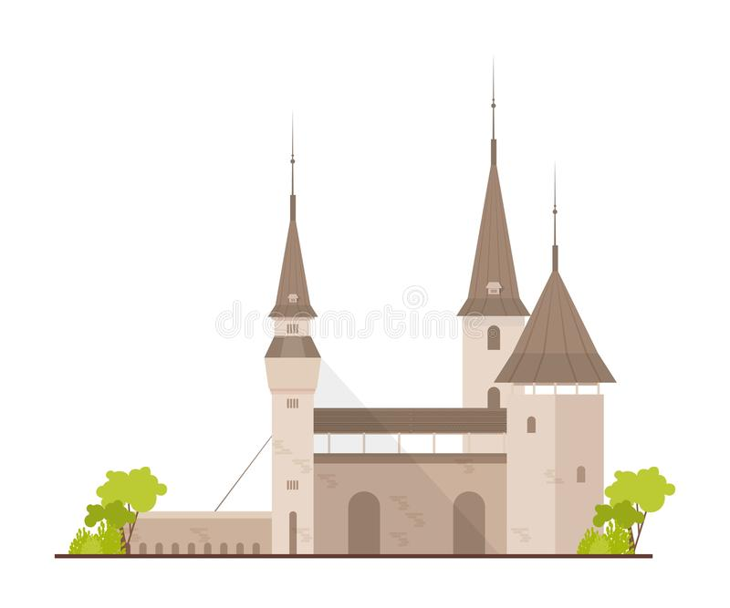 Old European castle, fortress or stronghold with towers and drawbridge isolated on white background. Royal residence of. Fantasy medieval architecture. Flat vector illustration