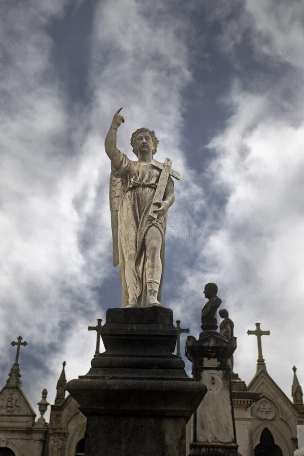 Cemetery angel statue stock photos