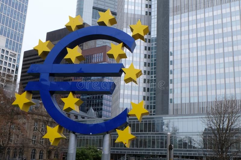 Old European Central Bank Euro Sign in Frankfurt royalty free stock images