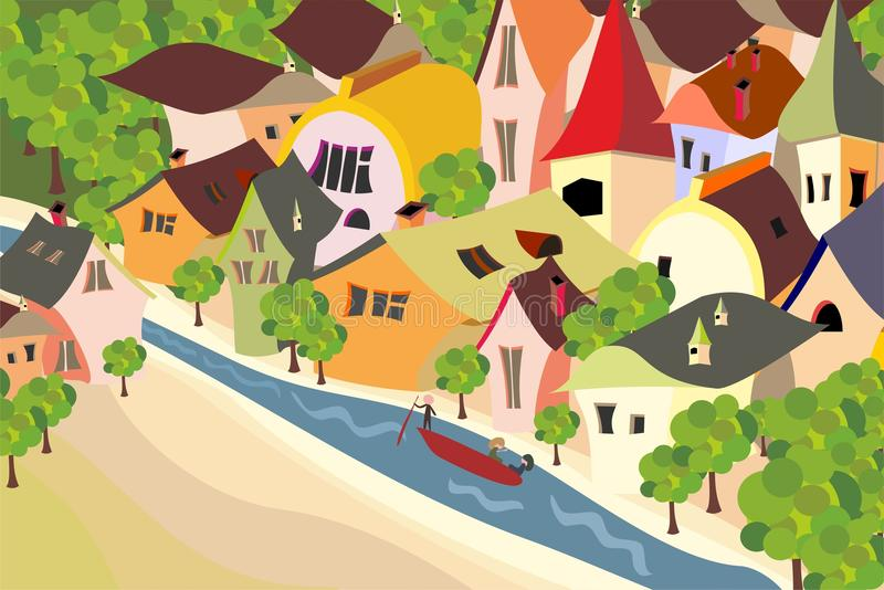 Download Old european city stock vector. Image of home, childish - 19523189