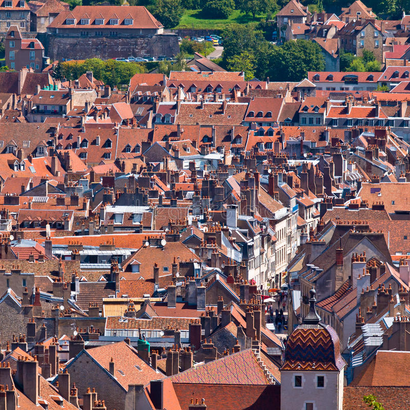 Old European City. View over the roofs of a Medieval European City stock photo