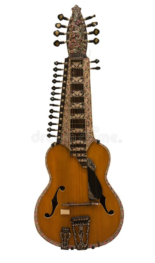 Old European Guitar Multi Frets royalty free stock image