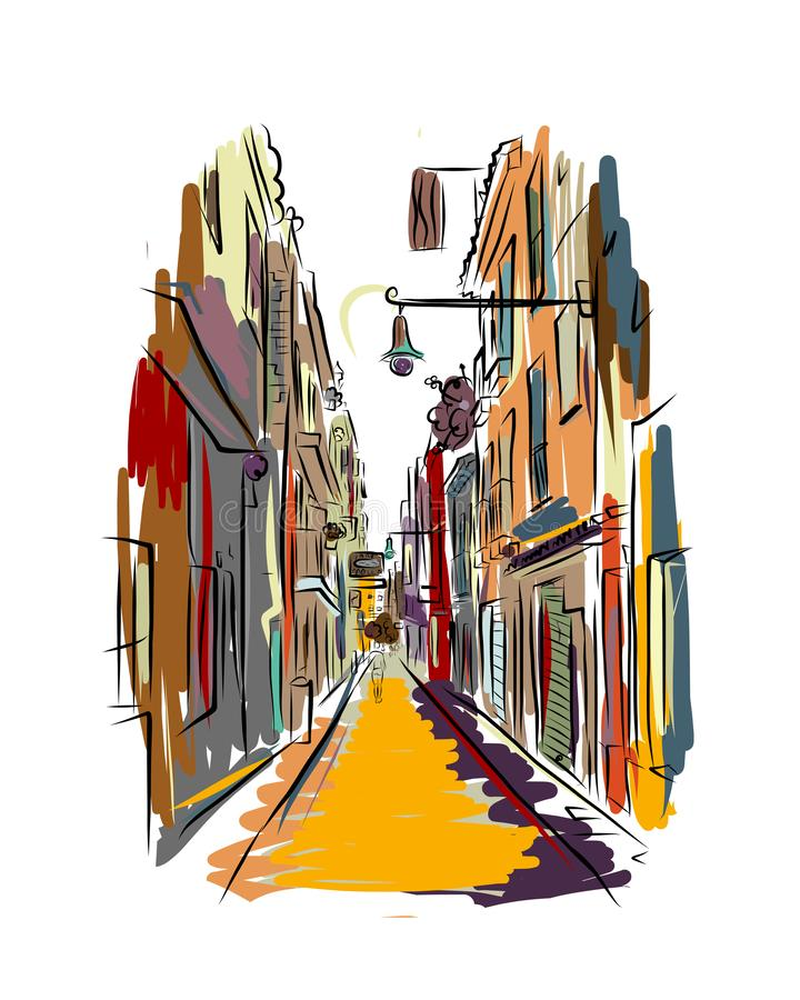 Old european street, sketch for your design. Vector illustration royalty free illustration